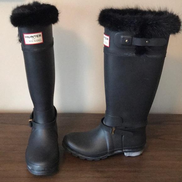 J Mendel Rain Boots With Fur Trim